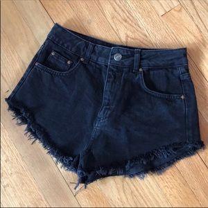 TOP SHOP black denim jean cutoff shorts